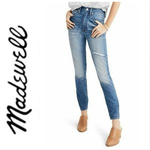 Madewell High Rise Rigid Skinny Distressed Jean 30